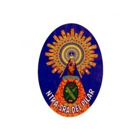 Pegatina grande ovalo Virgen Pilar