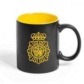 Taza cerámica negra Policía