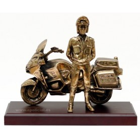 Figura Motorista con moto baño bronce
