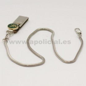 Cadena silbato metálica con pinza Guardia Civil