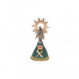 Virgen del Pilar 8 cm metálica con manto bordado