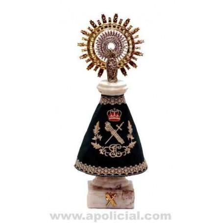 Virgen del Pilar 20cm. Alabastro con manto bordado