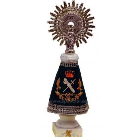 Virgen del Pilar 37cm. Alabastro con manto bordado