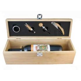 Set de vino madera bambú con botella