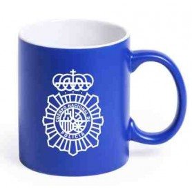 Taza cerámica azul Policía