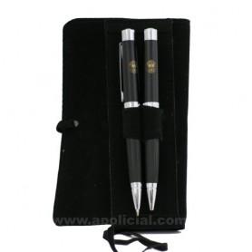Juego bolígrafo y portaminas con funda antelina