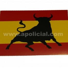 Pegatina pequeña bandera/toro